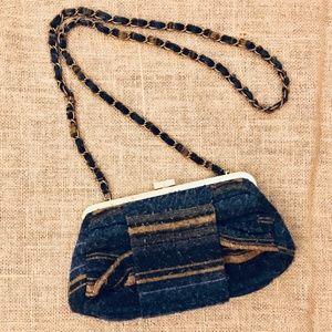 Ecote purse/clutch (Blue, tan, gold)